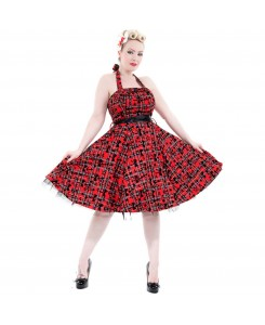Hearts & Roses London - 6677-Kiara Red Tartan Flocked Halterneck Dress