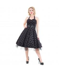 Hearts & Roses London - 0211-Black Purple Flocked Polka Dot Swing Dress