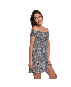 Urban Classics - Ladies Smoked Off Shoulder Dress TB2605 Bandana