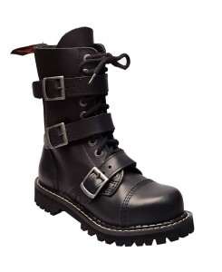 Angry Itch - 10-Loch 3-Buckle AI10Z-3B/B/LE Black Leather