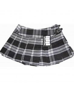 SexyPunk - Falten Rock Scottish Short Kilt Schwarz Weiß Tartan 4191