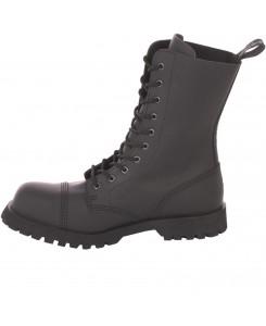 Boots and Braces 10-Loch Crazy Horse Nubukleder Matt Schwarz Stiefel Stahlkappe