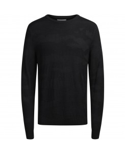 Jack & Jones - JCOCAMO KNIT CREW NECK 12126233 Black/Knit Fit