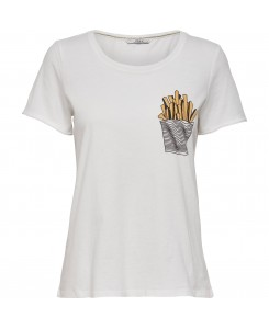 Only - onlHappy EVE S/S TEE JRS Cloud Dancer FRIES POCK 15145687 weiß