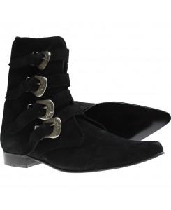 Boots & Braces - Winkelpiker 4 Schnallen Suede schwarz