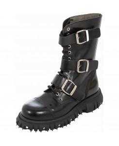 Boots & Braces - 12-Loch Massiv 3 Buckle 601420 Schwarz