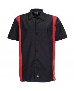 Dickies - WS508BKER Two Tone Work Shirt Black English Red
