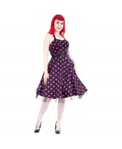 Hearts & Roses London - 0211-Black Purple Dot Long Dress