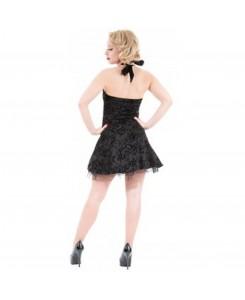 Hearts & Roses London - 1125-Black Flocking Mini Dress