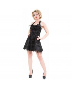 Hearts & Roses London - 1125-Black Flocking Mini Dress