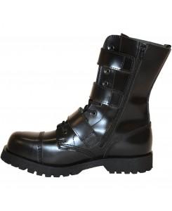 Boots & Braces - 10-Loch 3-Buckle/Zip schwarz
