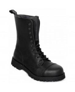 Boots & Braces - 10-Loch Rough Military Leather Black