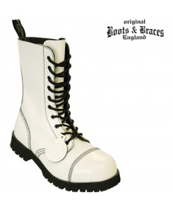 Boots & Braces - 10-Loch Hot Colour White
